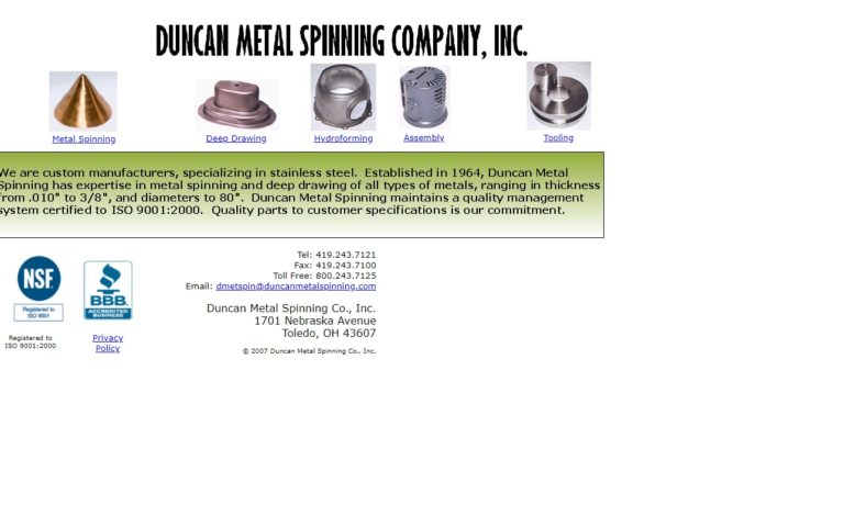 Duncan Metal Spinning Co., Inc.
